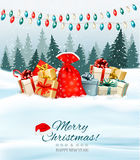 Holiday Christmas background with a sack full of gift boxes Royalty Free Stock Photo