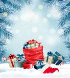Holiday Christmas background with a sack full of gift boxes. And branches of tree. Vector Royalty Free Stock Photo