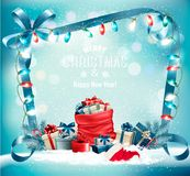 Holiday Christmas background with a sack full of gift boxes. And garland. Vector Royalty Free Stock Photo