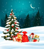 Holiday Christmas background with a sack full of gift boxes Stock Images