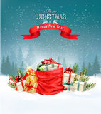 Holiday Christmas background with a sack full of gift boxes. Stock Photography