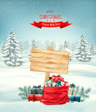 Holiday Christmas background with a sack full of gift boxes Royalty Free Stock Images