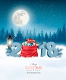 Holiday Christmas background with sack royalty free illustration