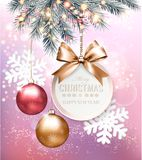 Holiday Christmas background with snowflakes vector illustration