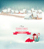 Holiday Christmas background with a village Stock Image