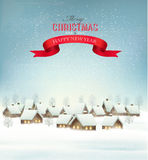 Holiday Christmas background with a village and a red gift ribbo Stock Photography