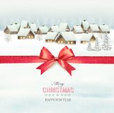 Holiday Christmas background with a village. And a red gift ribbon. Vector Stock Image