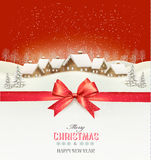 Holiday Christmas background with a village Stock Images