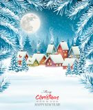 Holiday Christmas background with a village and  trees. Royalty Free Stock Image