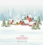 Holiday Christmas background with a village and  trees. Royalty Free Stock Photography
