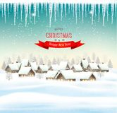 Holiday Christmas background with a village. Royalty Free Stock Photography