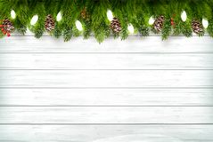 Free Holiday Christmas Background With Branch Of Tree And Garland On Royalty Free Stock Photography - 130241217