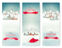 Holiday Christmas banners with villages. Royalty Free Stock Photography