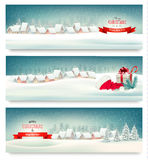 Holiday Christmas banners with villages. Stock Images