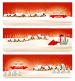 Holiday Christmas banners with villages. Royalty Free Stock Image