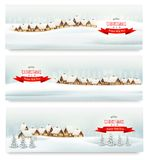 Holiday Christmas banners with villages. Stock Photo