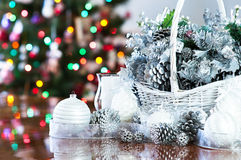 Holiday Christmas Basket arrangement Stock Images