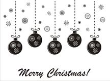 Holiday christmas black-and-white  card Stock Images