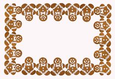 Holiday Christmas border of Gingerbread Men cookies royalty free stock photography