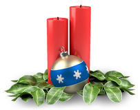 Holiday christmas candles with christmas ball. And leaves royalty free illustration