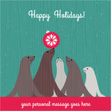 Holiday Christmas card with cute sea lion family. And space for your text Vector Illustration