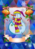 Holiday christmas card with funny snowman on a colorful mosaic background. Copy space. Can be used as a greeting ecard for social networks. Vector clip art Royalty Free Illustration