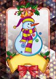 Holiday christmas card with funny snowman on a colorful mosaic background. Copy space. Can be used as a greeting ecard for social networks. Vector clip art Stock Illustration