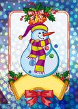 Holiday christmas card with funny snowman on a colorful mosaic background. Copy space. Can be used as a greeting ecard for social networks. Vector clip art Vector Illustration