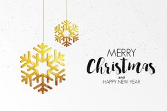 Holiday Christmas card made from triangles. Christmas colorful greeting card made in polygonal origami style on white background. Party poster, greeting card Stock Photography