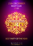 Vector Christmas Party design template. Vector illustration. Holiday Christmas club poster. Party New Year design banner. Vector gold glitter luxury snowflake Royalty Free Stock Images