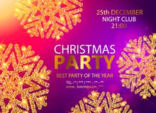 Vector Christmas Party design template. Vector illustration. Holiday Christmas club poster. Party New Year design banner. Vector gold glitter luxury snowflake Royalty Free Stock Photo