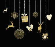 Holiday christmas decoration cute deer gold card stock images