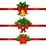 Holiday Christmas decorations with gold bell and bow stock illustration