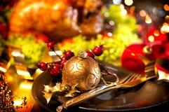 Holiday Christmas dinner. Christmas table setting with turkey. Holiday Christmas dinner royalty free stock photo