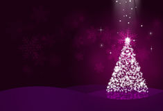 Holiday Christmas Eve. Night christmas eve with snow tree on dark background Royalty Free Stock Photos