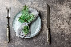 Holiday Christmas food background, cutlery, plate, napkin with ring and Christmas tree branch, table setting in silver Royalty Free Stock Image