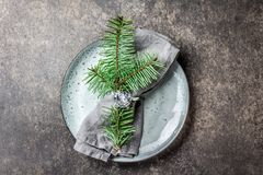 Holiday Christmas food background, cutlery, plate, napkin with ring and Christmas tree branch, table setting in silver Royalty Free Stock Photos