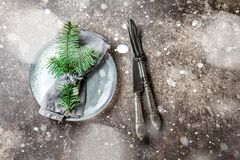 Holiday Christmas food background, cutlery, plate, napkin with ring and Christmas tree branch, table setting in silver Royalty Free Stock Photo