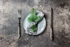 Holiday Christmas food background, cutlery, plate, napkin with ring and Christmas tree branch, table setting in silver Stock Image