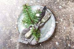 Holiday Christmas food background, cutlery, plate, napkin with ring and Christmas tree branch, table setting in silver Stock Images