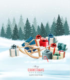 Holiday Christmas greeting card with a colorful gift boxes Stock Photos