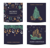Holiday and Christmas hand drawing greeting card set. vector illustration Stock Photography