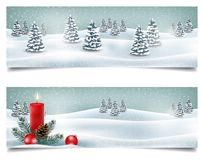 Holiday Christmas horizontal banners with winter landscape stock photo