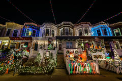 Holiday/ Christmas Lights on Building in Hampden, Baltimore Mary royalty free stock images