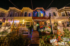 Holiday/ Christmas Lights on Building in Hampden, Baltimore Mary. Land at Night royalty free stock photo