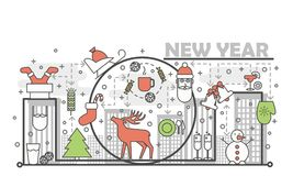 Holiday Christmas and New Year concept line banner. Vector illustration linear style design. Graphic icons with toys and. Gifts elements Royalty Free Stock Image