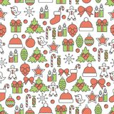 Holiday Christmas and New Year line seamless pattern. Vector illustration of wrapping paper in linear style design Royalty Free Stock Image