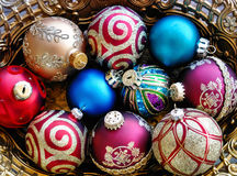 Holiday christmas ornaments. Colorful holiday christmas ornaments for decorating stock image