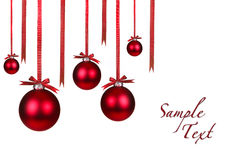 Holiday Christmas Ornaments Hanging With Bows Stock Photography