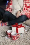 Holiday Christmas photo of beautiful tender couple Stock Images